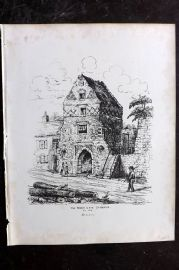 Anastatic Drawing Society 1858 Print. Fisher Gate, Sandwich